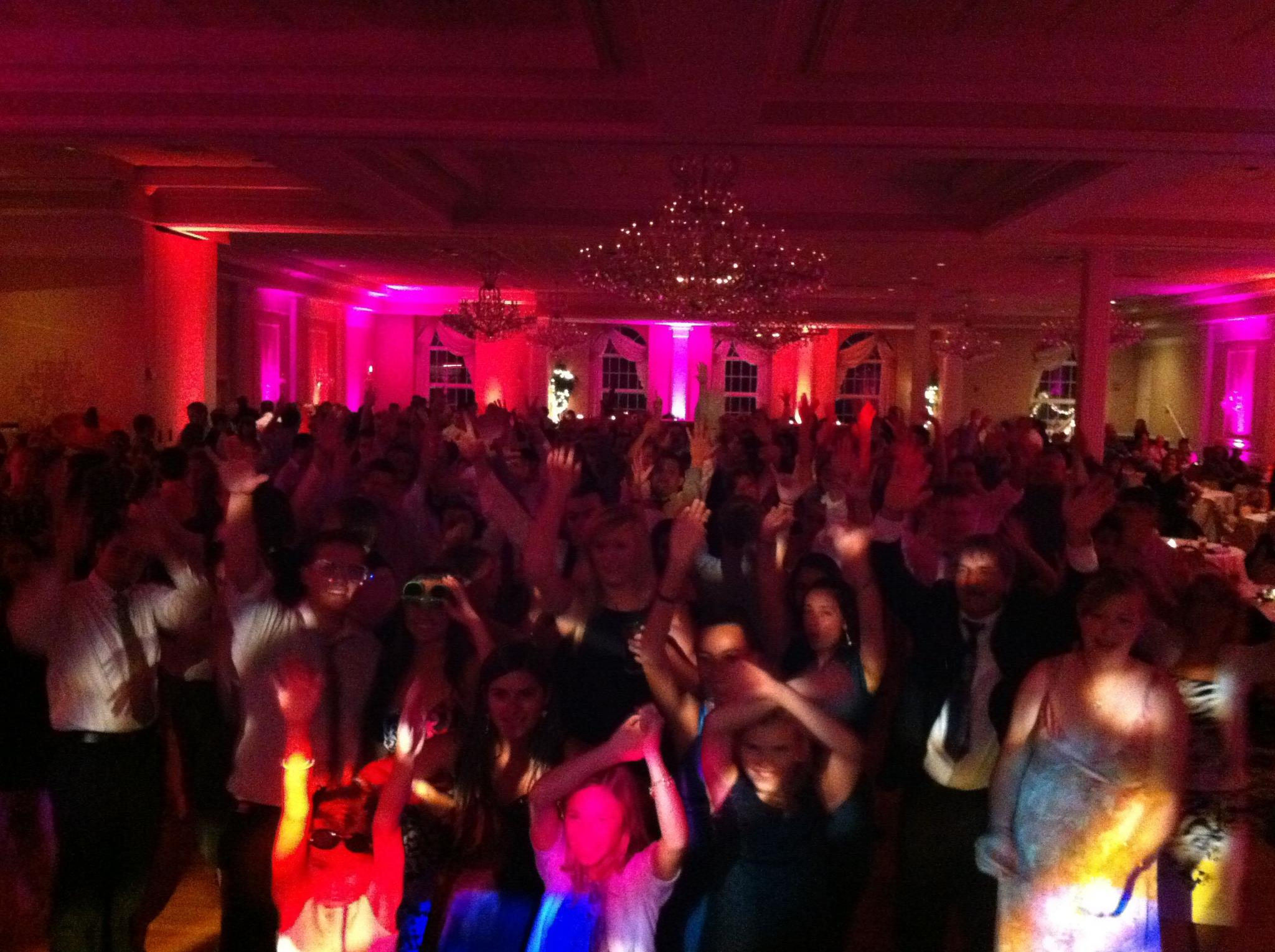 Dance floor with DJ lighting
